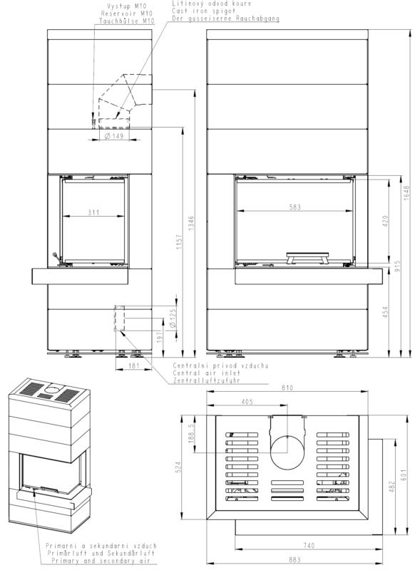 Kominek modułowy na drewno Romotop Cara R/L 03