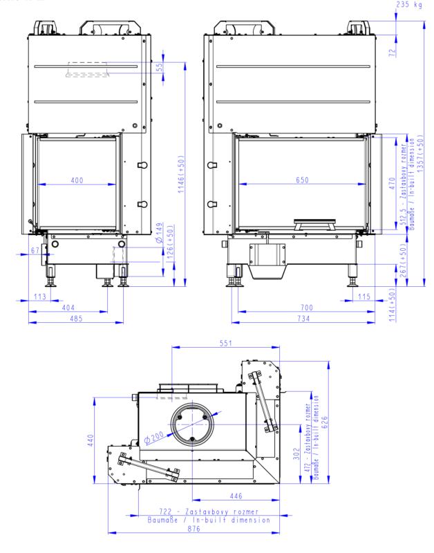 Wkład kominkowy Romotop HEAT R/L 3G L 65.51.40.01