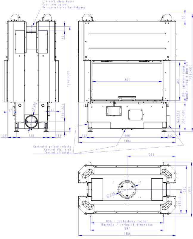Wkład kominkowy Romotop HEAT T 3G L 88.50.01