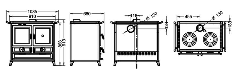 Piec kuchenny na drewno Thermorossi Klara