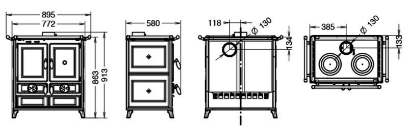 Piec kuchenny na drewno Thermorossi Violetta