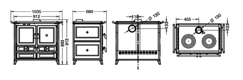 Piec kuchenny na drewno Thermorossi Viola